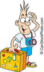 Cartoon tourist - Vector illustration of Cute comic tourist...