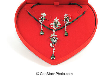 Jewelry gift - Platinum jewelry set with emeralds in red...