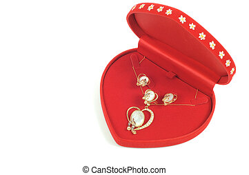 Jewelry gift - Gold jewelry set with pearls in red open box