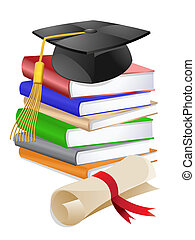 Graduation Cap on Stack of Books - Graduation Cap on Stack...