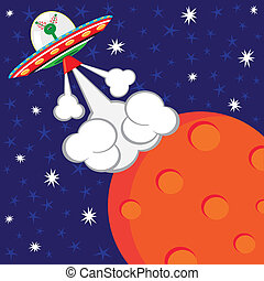Alien Spaceship Blast-off Birthday