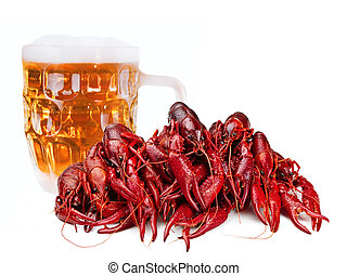 crawfishes - red boiled crawfishes abd beer over the white
