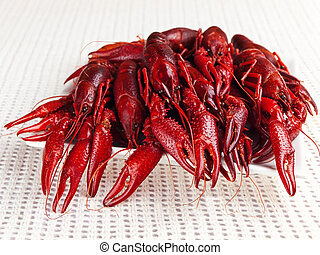crawfishes - plate full of red boiled crawfishes