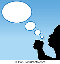 Person silhouette blows thought bubbles cloud - Girl...