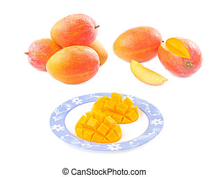 Fresh delicious mango fruit in dish, tropical fruit.