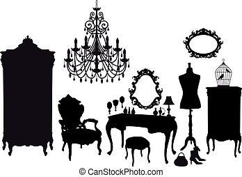 vintage dressing room, vector