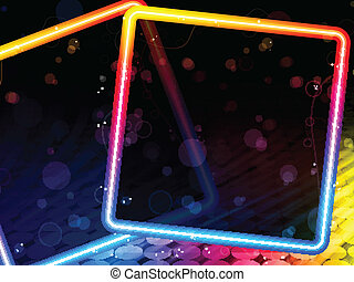 Disco Abstract Square Box on Black Background - Vector -...