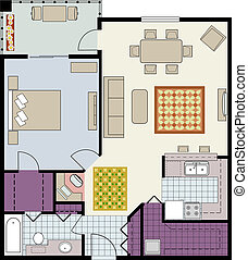 Floor plan of one-bedroom condo - Vector shows the...