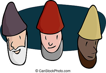 Three Male Gnomes - Portraits of three bearded gnomes,...