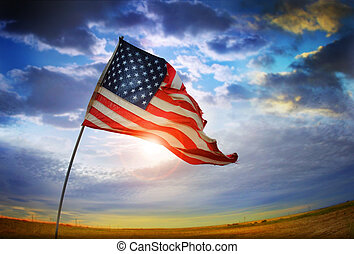 Old Glory Flag - Wide angle photo of a tattered American...