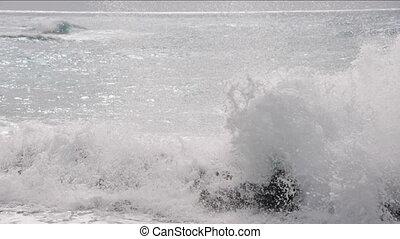 sea waves breaking on reef - ocean Caribbean sea waves...