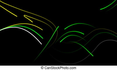 Curved Lines Motion Background with black background.