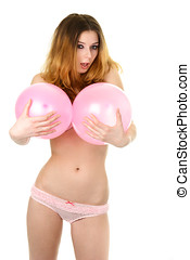 Woman with big breasts - Young sexy woman in pink underwear...