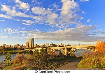 Sunset on Saskatoon - Sunset on the city of Saskatoon,...