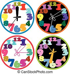 set of a colorful clocks