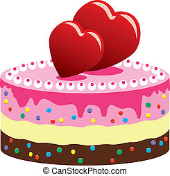 valentine cake with hearts - vector valentine cake with...