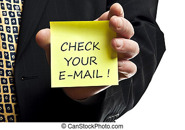 Check your e-mail post it in business man hand
