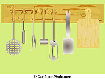 Kitchen utensils. - Set for cooking in the kitchen, on a...
