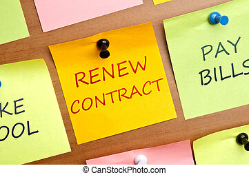Renew contract psot it on wooden wall