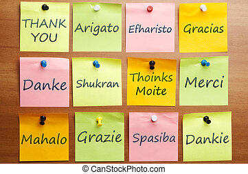Thank you word in 12 languages - Thank you word post it in...