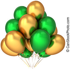 Helium balloons green and golden - Party balloons colored...