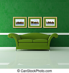 green living room - green interior with three golden frames...