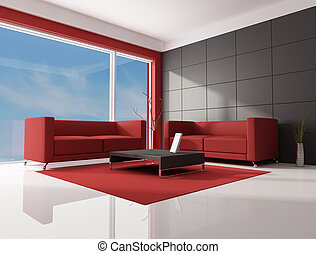 red brown and white living room - two red modern sofa in a...