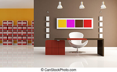 colored modern office - modern office space with empty desk...