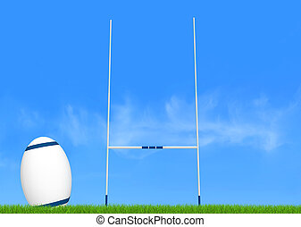 rugby conversion - rugby goal post and ball on green-the...