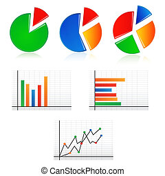business graphs - illustration of business graphs on white...