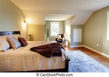 Fresh green bedroom with modern brown bed