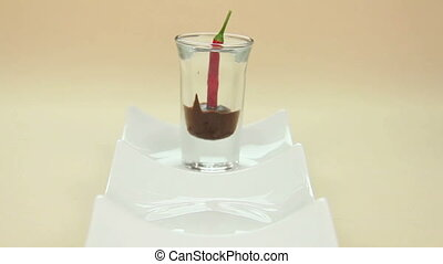 Pull Focus Chillies - Chillies in chocolate in shot glasses...