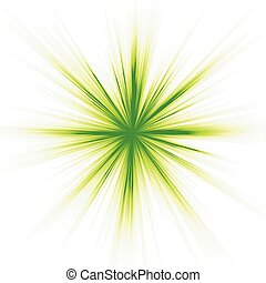 Green light, star burst on white - A green burst on white...