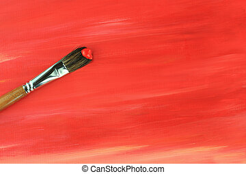 Paintbrush and Painted Background - Paintbrush against a red...