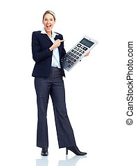 Accountant business woman with a big calculator. Over white...