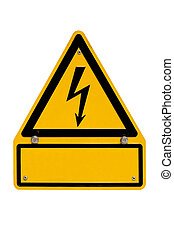 High Voltage Sign with copyspace on white - Real metal high...