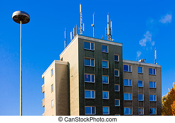 Antennas for cellphone service on building - Apartment house...