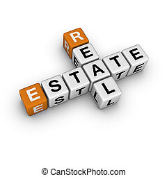 real estate symbol 3D crossword orange series