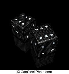 dice with diamonds - pair of black dice with sparkles...