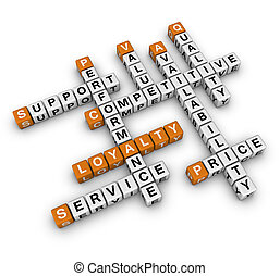 customer loyalty - costomer loyalty 3D crossword orange...