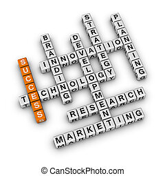 Business Success - Success of Business 3D crossword orange...