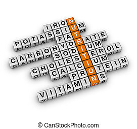 Nutrition Ingredient 3D crossword orange series