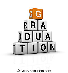 graduation pyramid 3D crossword orange series
