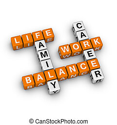 Work and Life Balance 3D crossword orange series