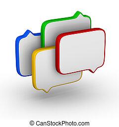 bubble speech colorful symbol set