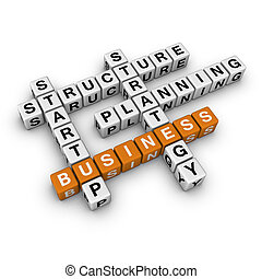 startup business 3D crossword orange series