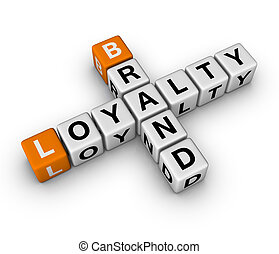 brand and loyalty - brand and customer loyalty 3D crossword...