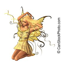 Summer Fairy - 3 - Pretty blonde fairy in summer sunshine,...