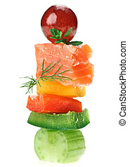 Elegant canape with salmon fish, celery, dill twig and grape...