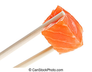 Slice of red salmon fish in chopsticks
